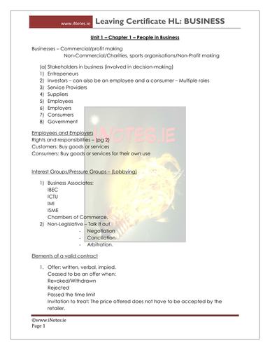 Leaving Certificate Business Notes