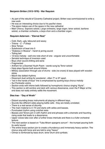 Benjamin Britten War Requiem Revision Sheet