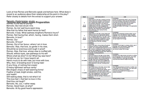 Romeo and Juliet - Component 1A - EDUQAS