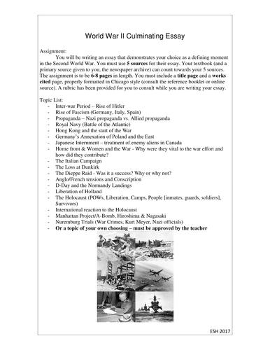 world war two essay topic list by esmyth   teaching resources   tes