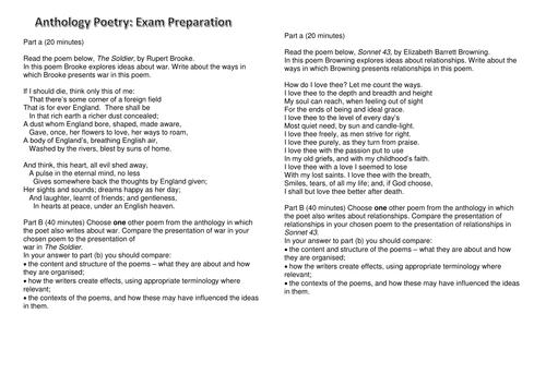 Anthology Poetry Revision Questions- Component 2A - EDUQAS