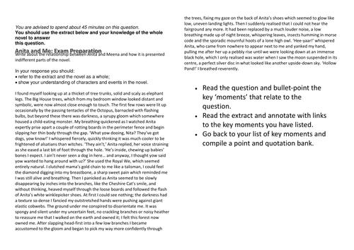 Anita and Me Revision Question - Component 2A - EDUQAS
