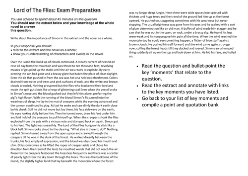 Lord of The Flies Revision Question - Component 2A - EDUQAS