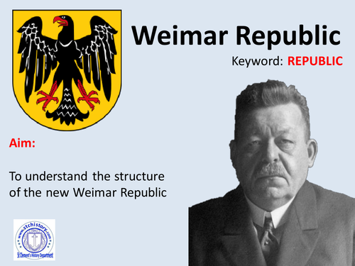 Edexcel 9-1 Germany Weimar Republic set up & constitution (Editable)
