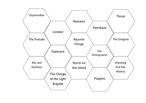 AQA conflcit and power poetry linking hexagon revision resource