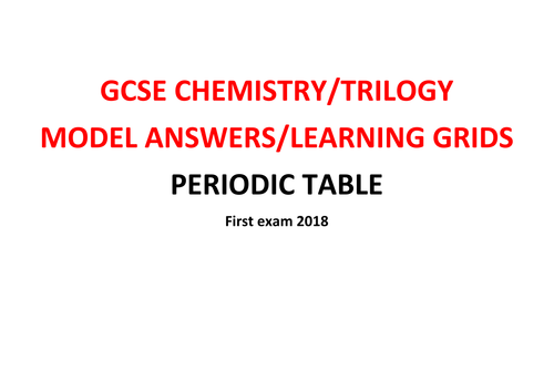 GCSE Chemistry/Trilogy REVISION Learning Grid with Model Answers - PERIODIC TABLE