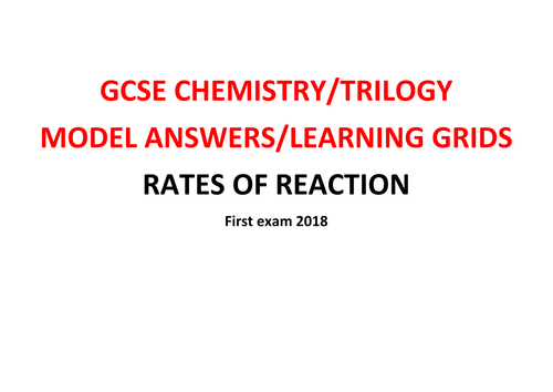 GCSE Chemistry/Trilogy REVISION Learning Grid with Model Answers - RATES OF REACTION