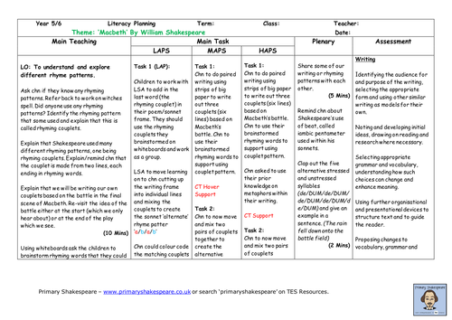 KS2 (Yr 5/6) Macbeth Sonnet Writing Lesson Plan - (Shakespeare Week)