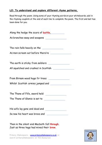 KS2 (Yr 5/6) Macbeth Battle Poem (Rhyming Patterns/Sonnet) Writing Frame LAP