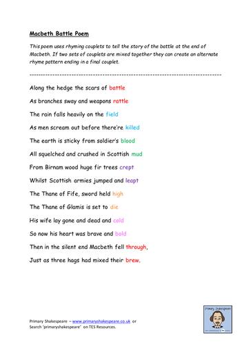 KS2 (Yr 5/6) Macbeth Battle Poem (Rhyming Patterns)