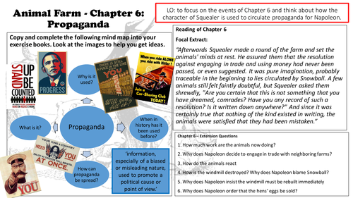 Animal Farm George Orwell Chapter 6 Lesson & Resources