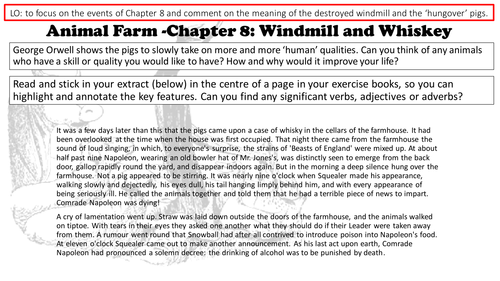 Animal Farm George Orwell Chapter 8 Lessons and Resources