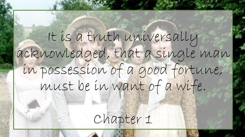 Pride and Prejudice Jane Austen Key Quotes Display GCSE