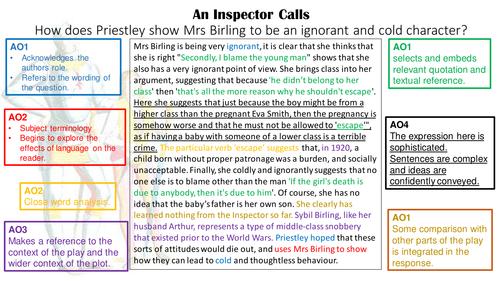 Inspector Calls GCSE SQI Paragraph Assessment Objectives