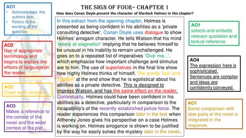 GCSE Sign of Four Conan Doyle Assessment Objectives SQI Paragraph exemplar