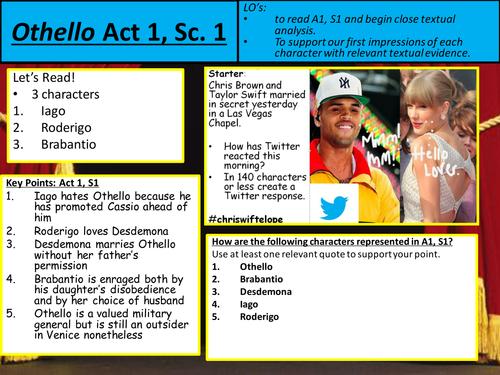Othello Act 1 Scene 1 Lesson A level