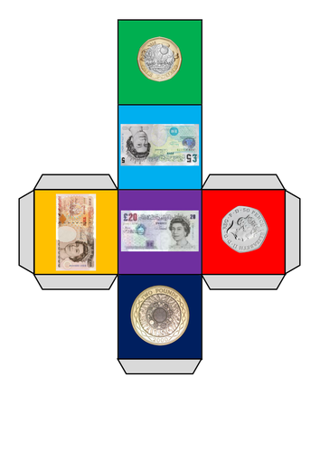 Dice for money work (with British coins and notes)