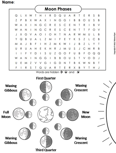 Moon Phases Word Search By Sciencespot Teaching Resources