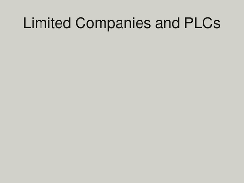 Types of Business LTD and PLC: GCSE Business for Edexcel (9-1) (1BS0)