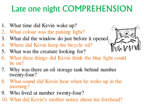 Short Story Prehension Late E Night KS2 KS3 By
