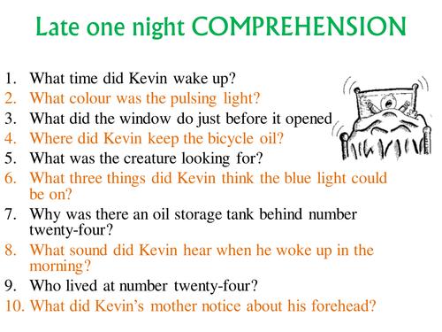 Short story comprehension Late One Night KS2 KS3