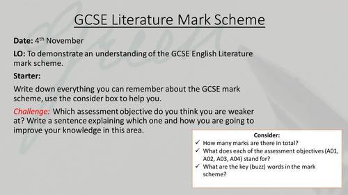 Peer/Self assessment lesson with GCSE mark scheme literature