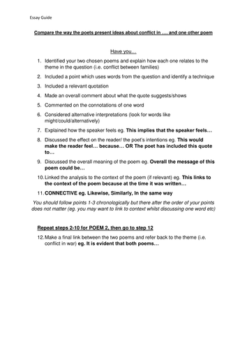 Compring Poems step by step guide, success criteria