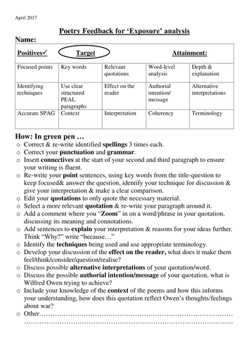 Marking feedback sheet for poetry ('Exposure')