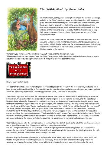 Oscar Wilde - The Selfish Giant - fairy tales unit KS2 KS3