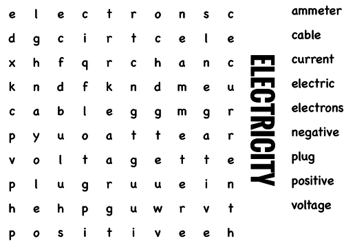 Science Wordsearch. Electricity by StartEducation