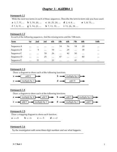 Maths HW Booklet - Term 1 - Year 7