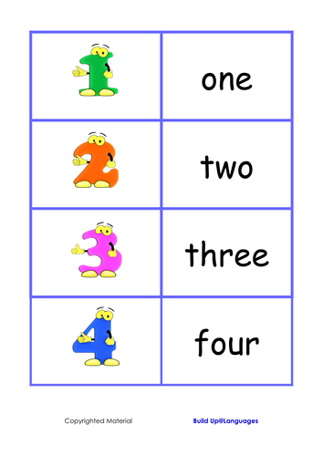 Numbers game, match the numbers with their words