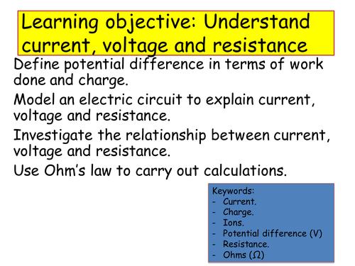 current voltage and resistance lesson GCSE