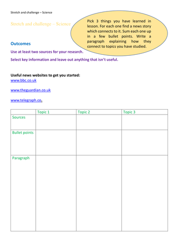 Stretch and challenge generic extension activity for science - Science in the news.