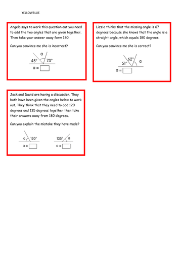 Identify angles at a point on a straight line and ½ a turn (total 180 ˚) (missing angles) Year 5