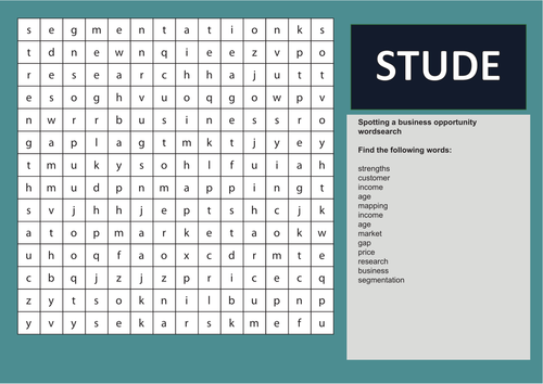 Spotting a business opportunity wordsearch: GCSE Business for Edexcel (9-1) (1BS0)