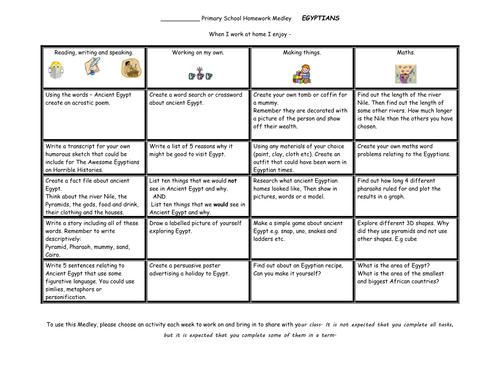 KS2  Homework Medley sheet - EGYPTIANS