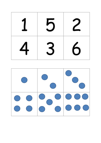 Number lotto with dice 1-6 EYFS