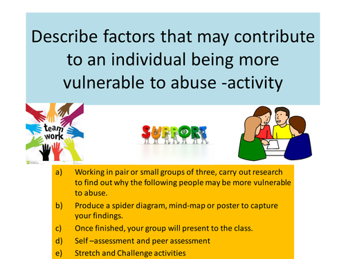 Vulnerable people - activity for group work. Includes stretch and challenge activities.