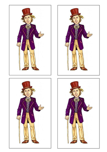 Mr Willy Wonka Chapter and character cut out