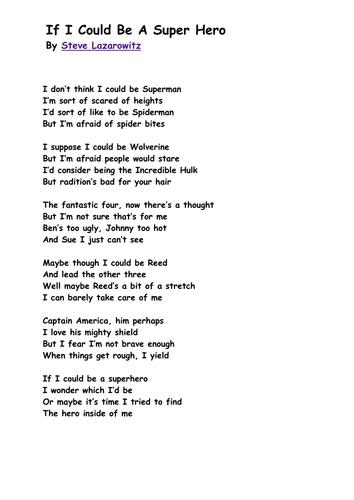 Writing a superhero poem based on poets example