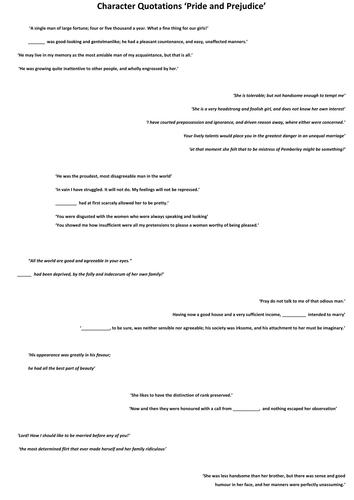 Pride and Prejudice Revision materials