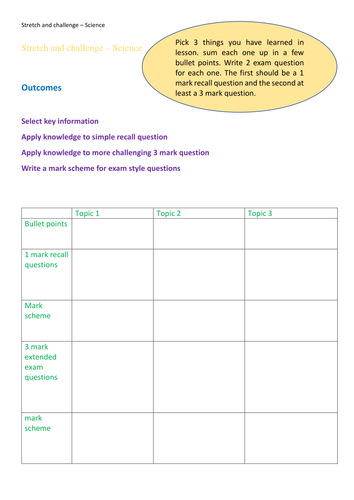 Stretch and challenge work sheet exam questions 1 sheet