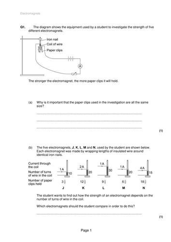 AQA old spec electromagnets test P3