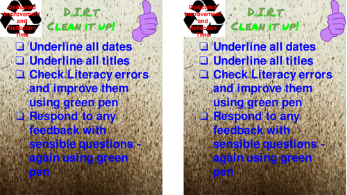 Checklist to use with Dedicated Improvement and Reflection Time (DIRT)