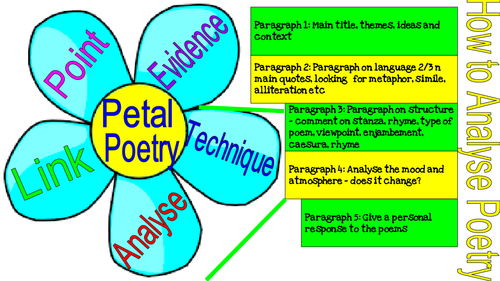 PETAL Analysis Visual Help Sheet - What to write about when analysing poetry