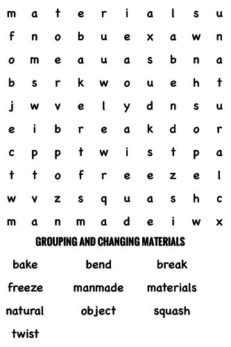 Science Wordsearch. Grouping and changing materials by