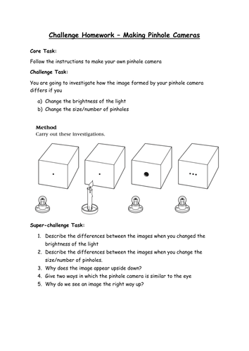 Pinhole Camera Homework Challenge Sheet By Biologyrk
