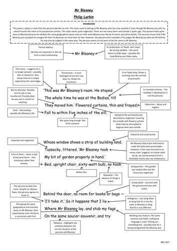 Mr Bleaney A3 Annotated Poem - Philip Larkin - The Whitsun Weddings - WJEC AS English Literature