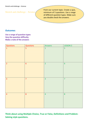 Stretch and challenge generic science activity 1 page